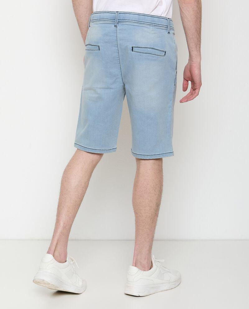 Jeans shorts di cotone stretch con coulisse uomo
