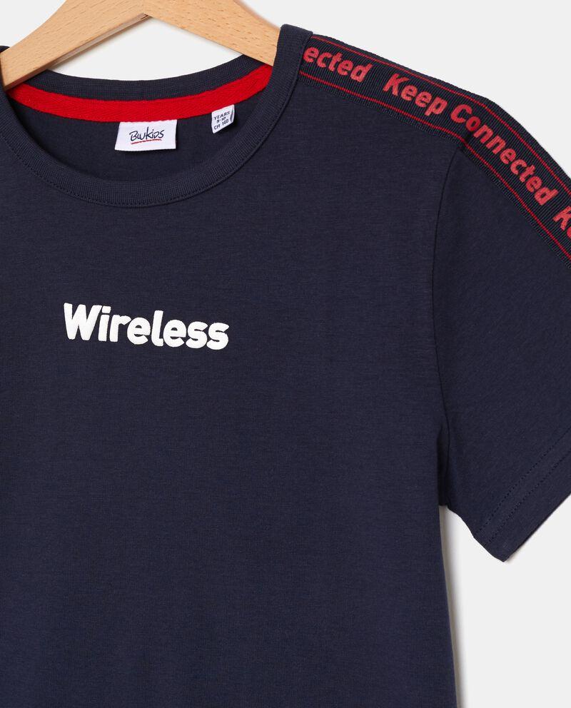 T-shirt con bande lettering ragazzo single tile 1