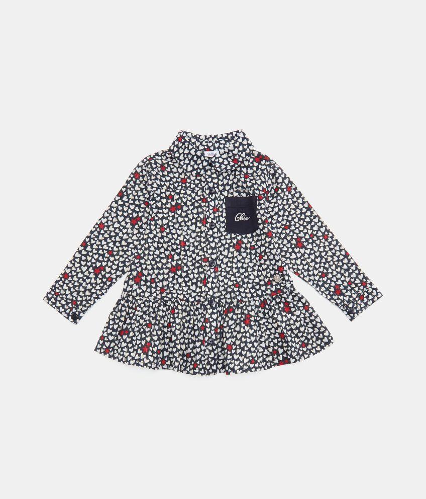 Camicia con fantasia cuoricini e filo lurex neonata