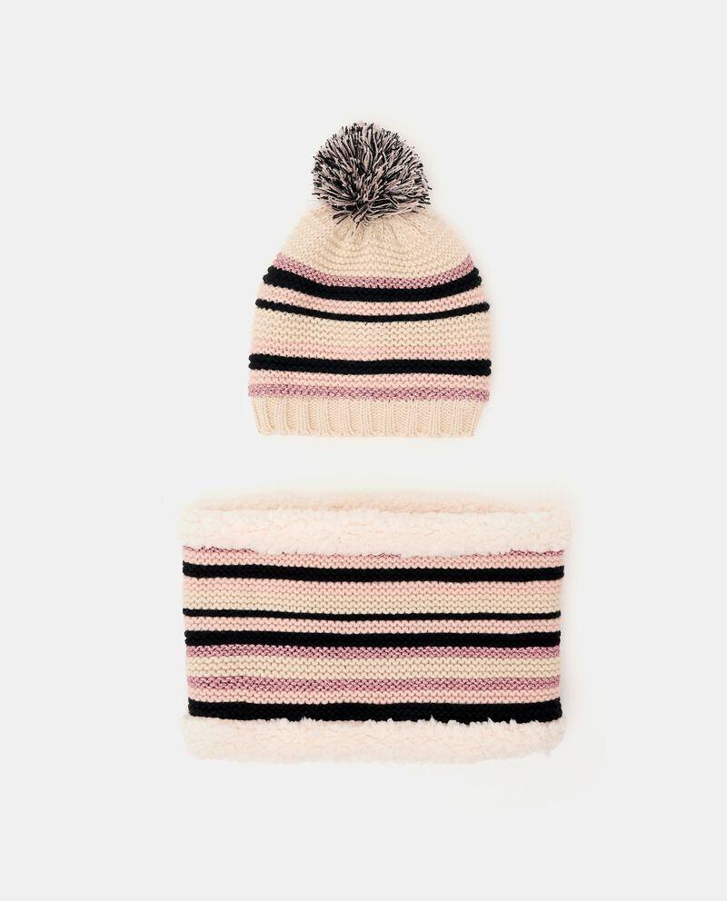 Set con berretto e scaldacollo con motivo a righe cover