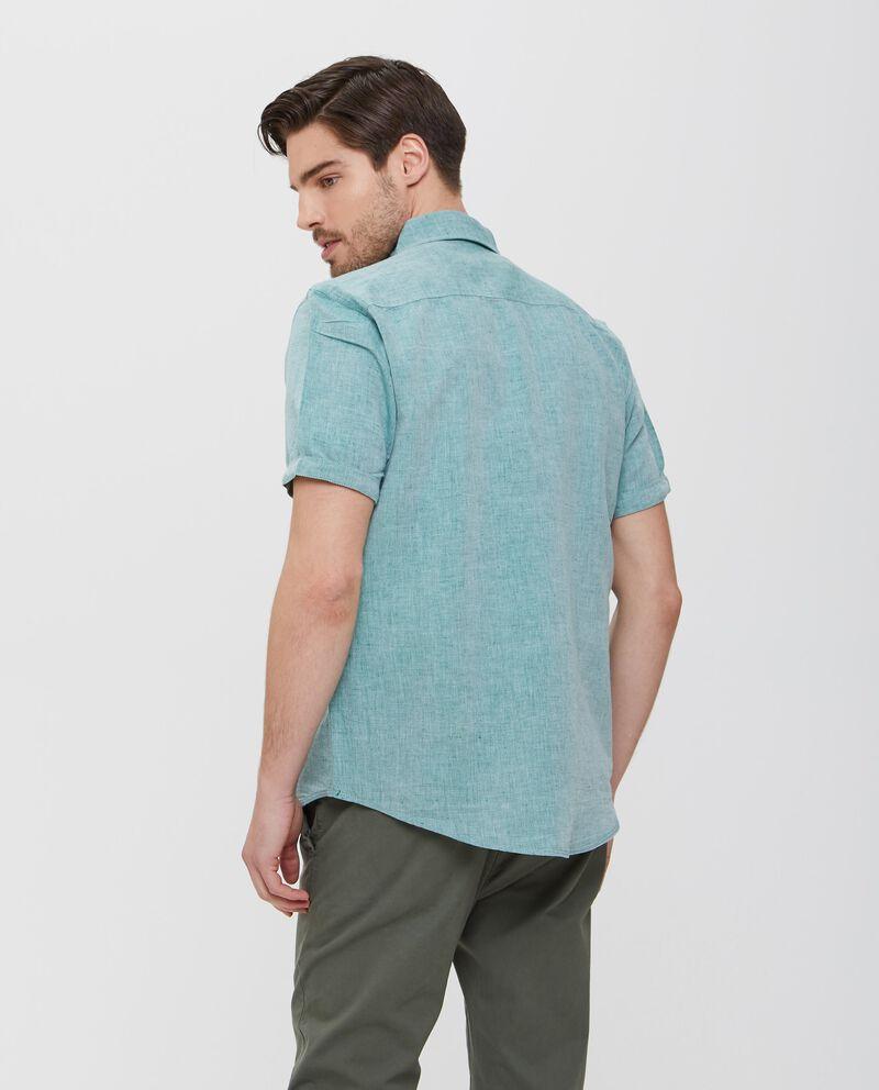 Camicia verde in lino e cotone con tasche uomo