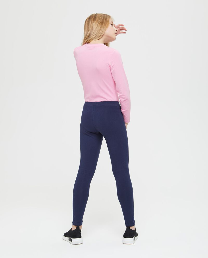Leggings in cotone stretch tinta unita