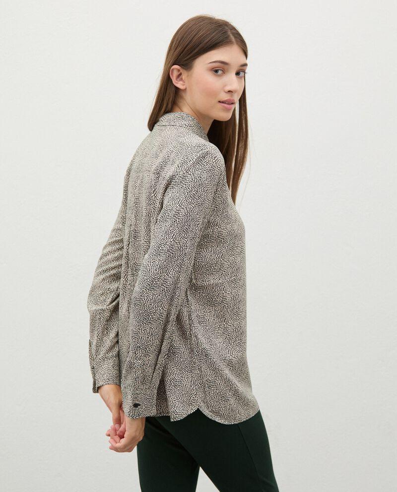Camicia di pura viscosa con micro fantasia donna single tile 1