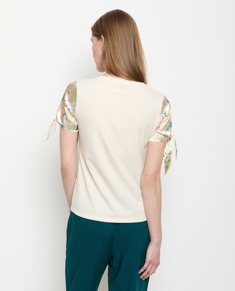 T-shirt in cotone stretch con maniche stampate donna single tile 1