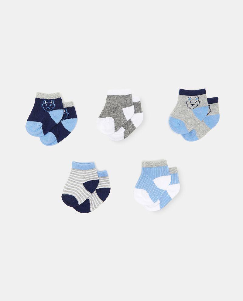 Set di 5 paia di calzini di cotone organico neonatodouble bordered 0