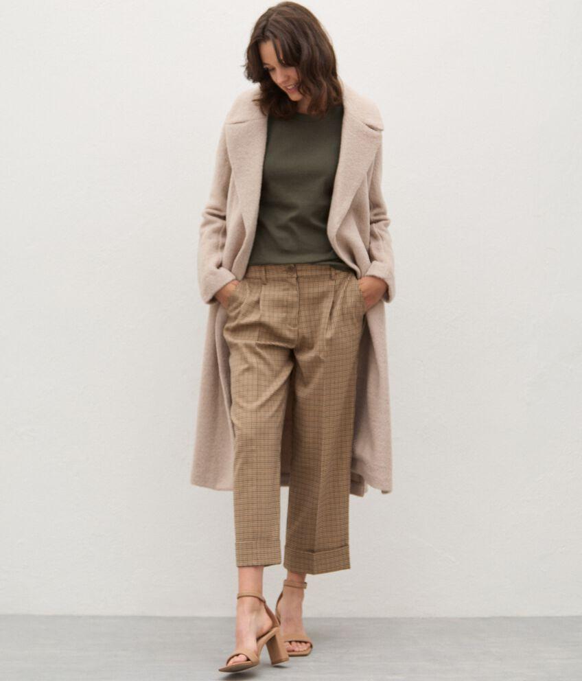 Cappotto in misto lana con cintura donna double 1