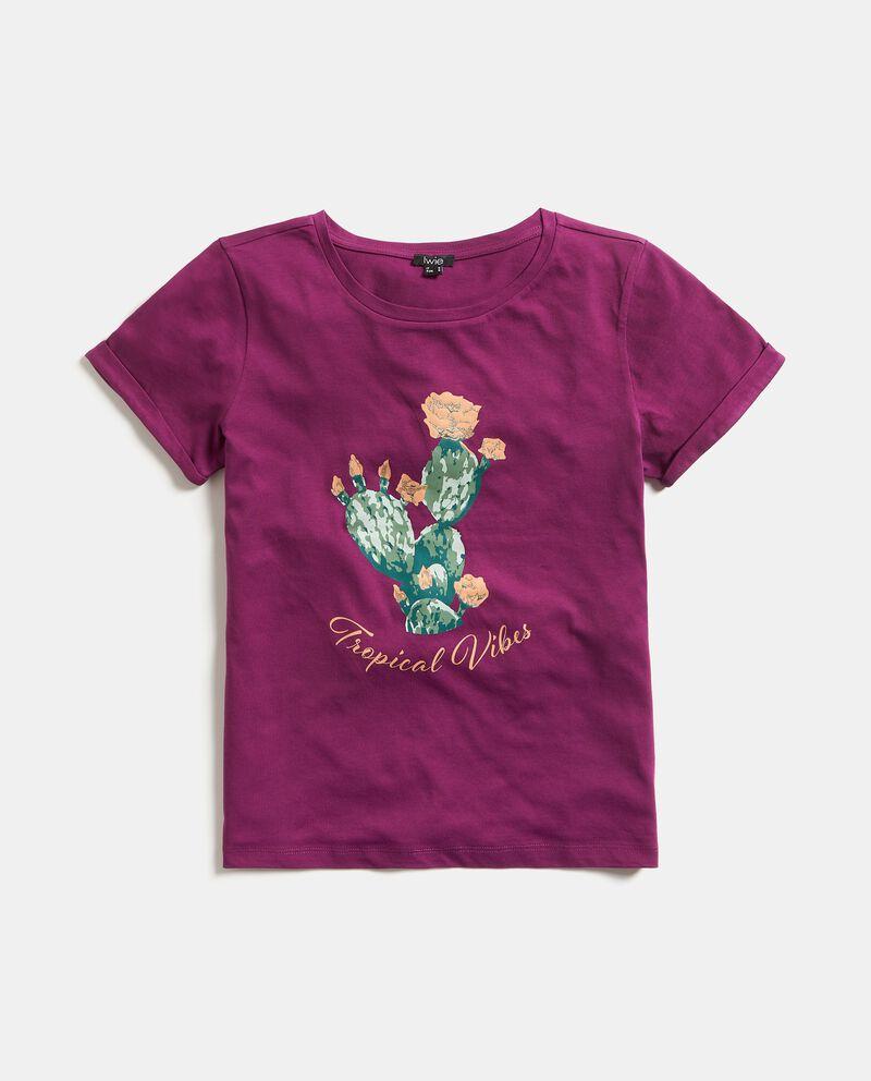 T-shirt puro cotone con stampa cactus donna