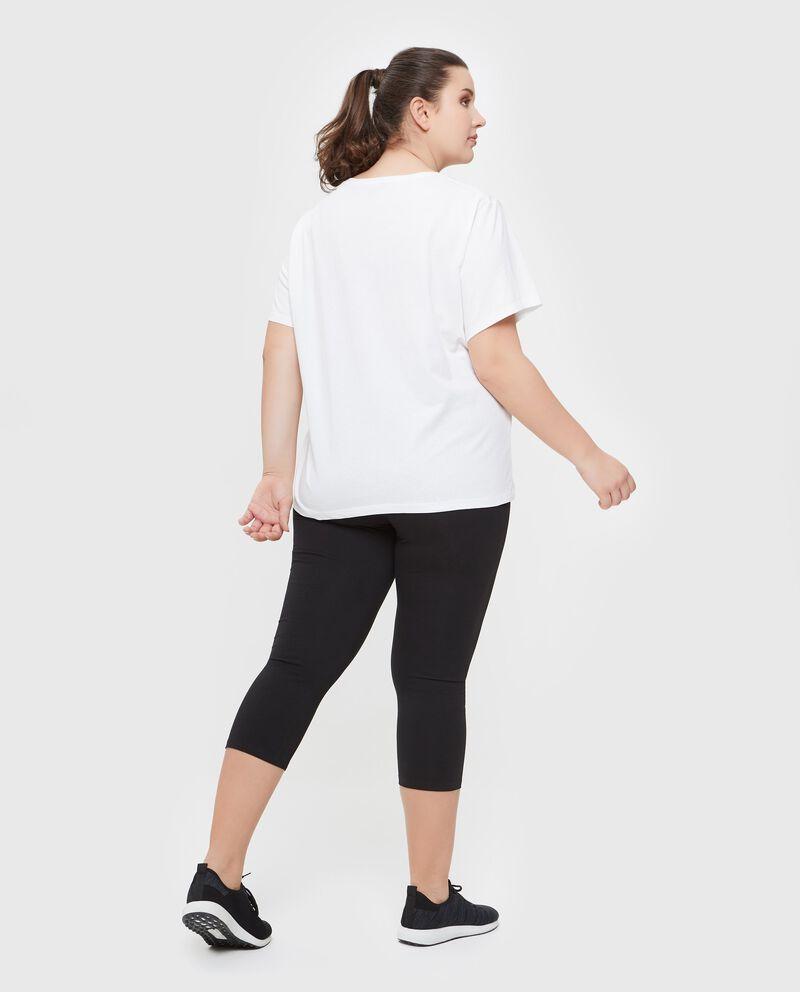 T-shirt in puro cotone con lettering Curvy donna