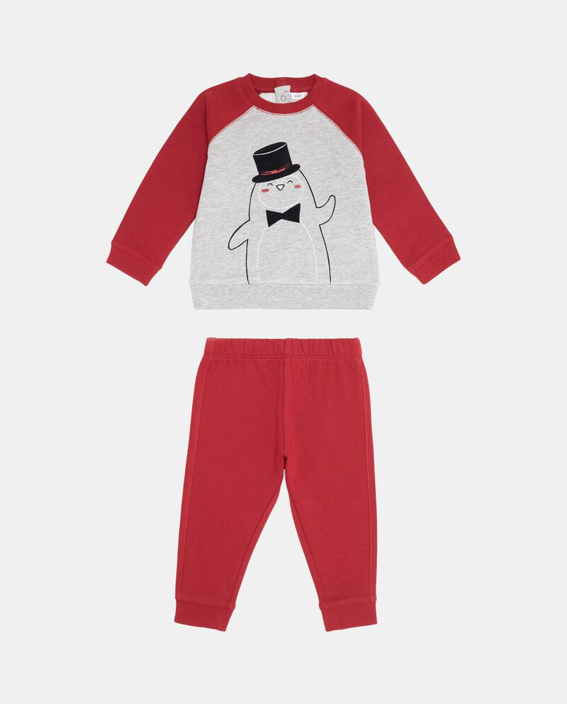 Tuta felpa e pantaloni stampa pinguino