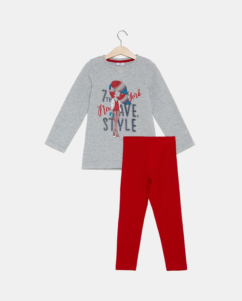 Set jogging t-shirt e leggings tinta unita bambina