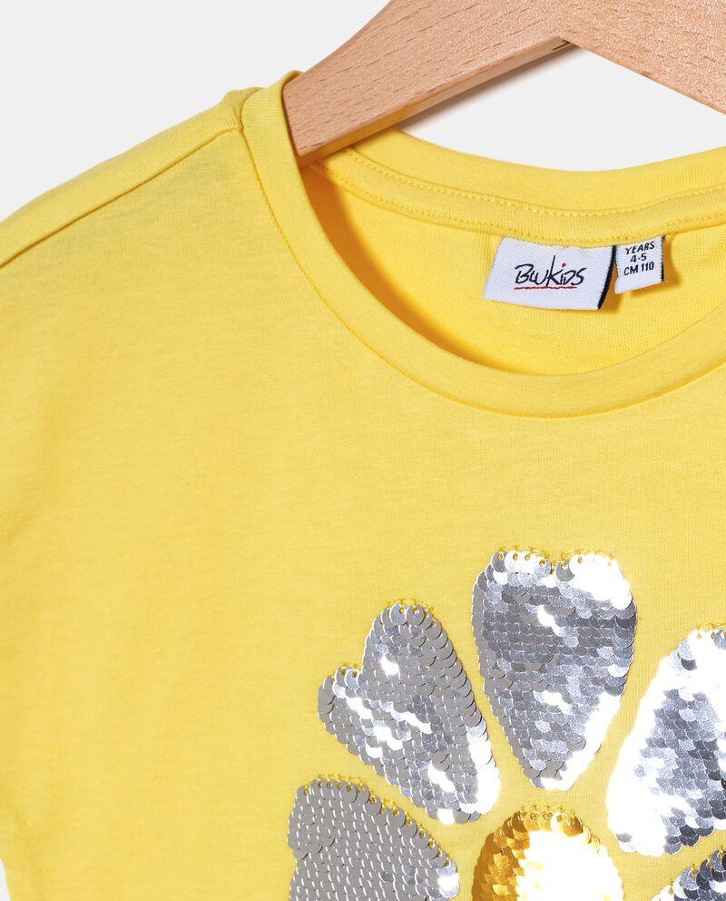 T-shirt bambina in cotone biologico jersey con paillettes reversibili