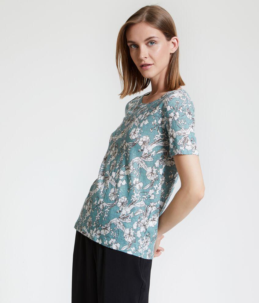 T-shirt in puro lino con fantasia donna