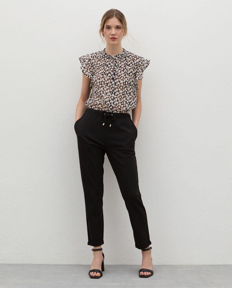 Pantaloni con coulisse crepe donna cover