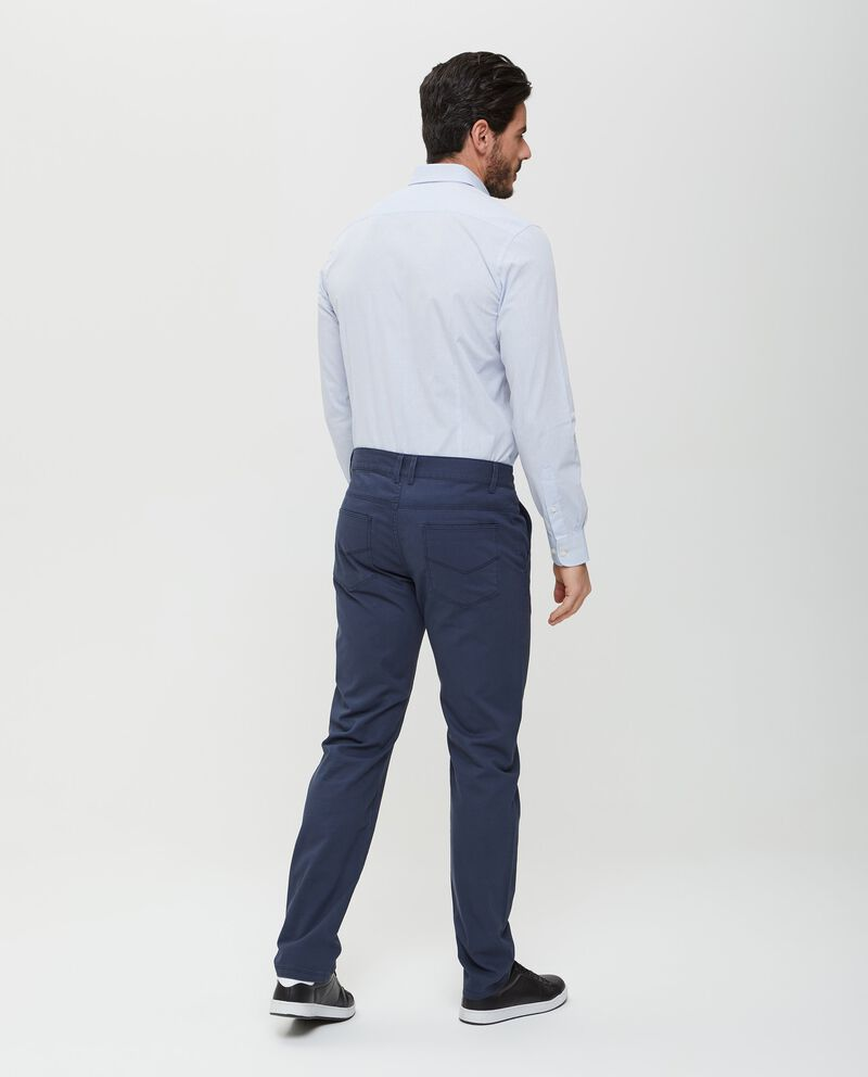 Pantaloni in puro cotone blu in tinta unita uomo