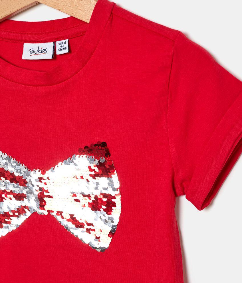 T-shirt in cotone biologico jersey con fiocco in paillettes reversibili bambina