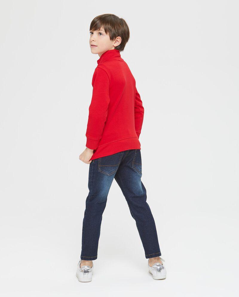 Felpa puro cotone rossa con zip e stampa