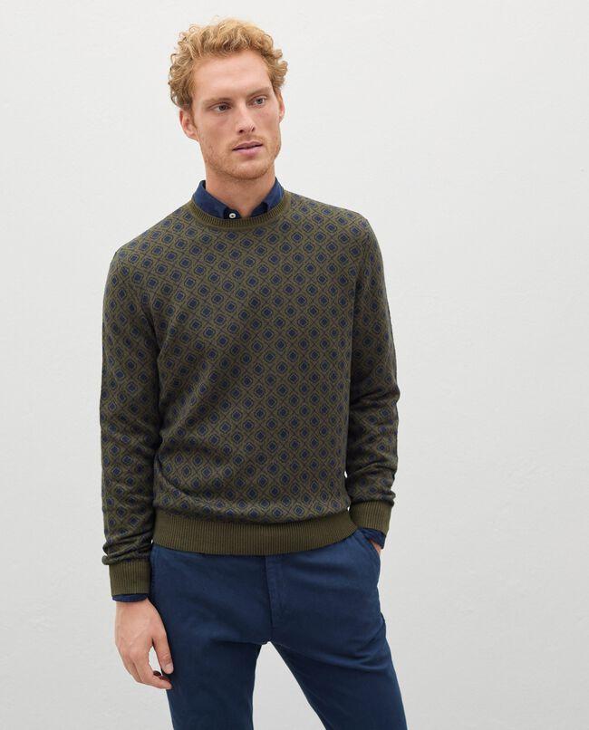 Pullover jacquard in cotone misto lana uomo carousel 0