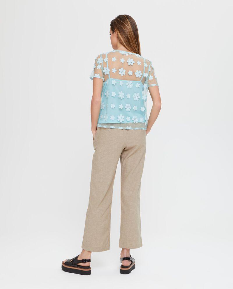 Camicia in cotone azzurra velata con ricamo