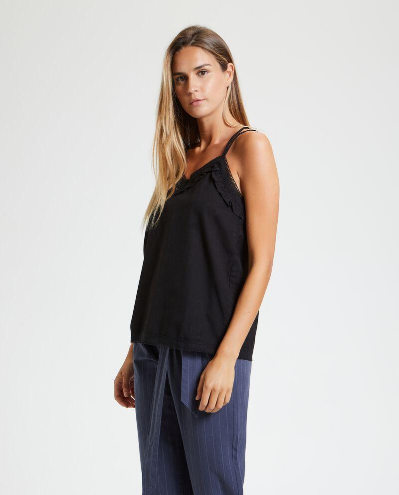 Blusa in tinta unita cotone misto lino donna cover