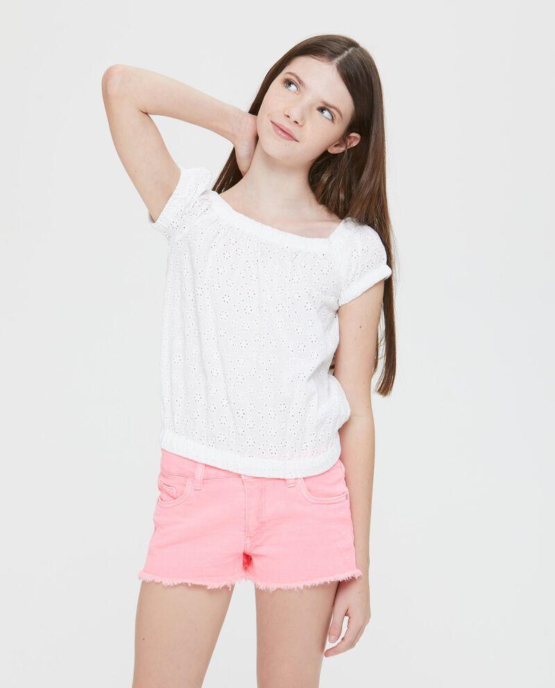 T-Shirt maniche corte traforato floreale