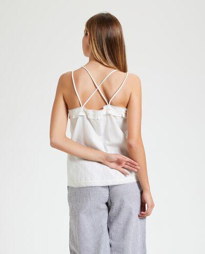 Blusa in tinta unita cotone misto lino donna