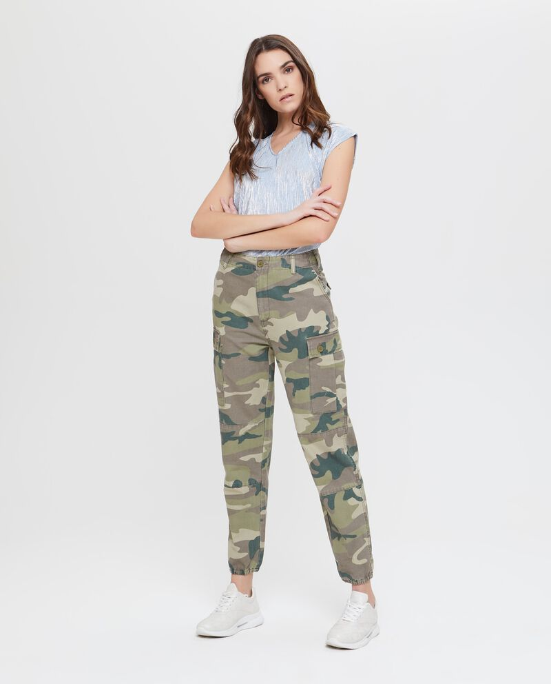 Pantaloni in puro cotone camouflage