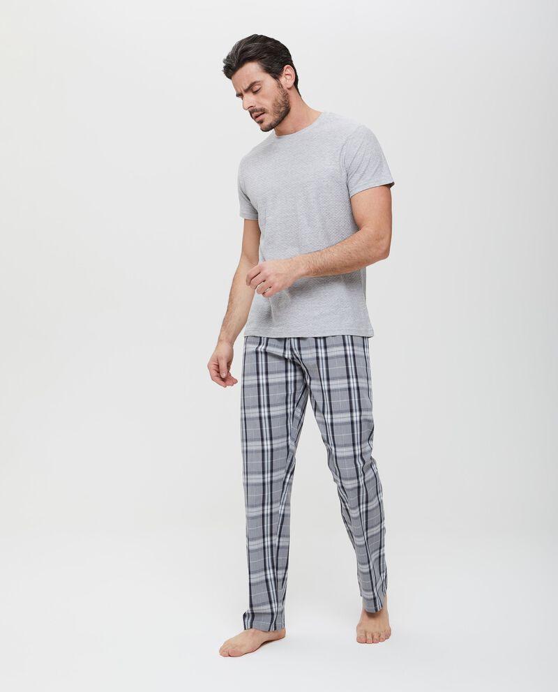 Pantaloni grigi in puro cotone a fantasia uomo