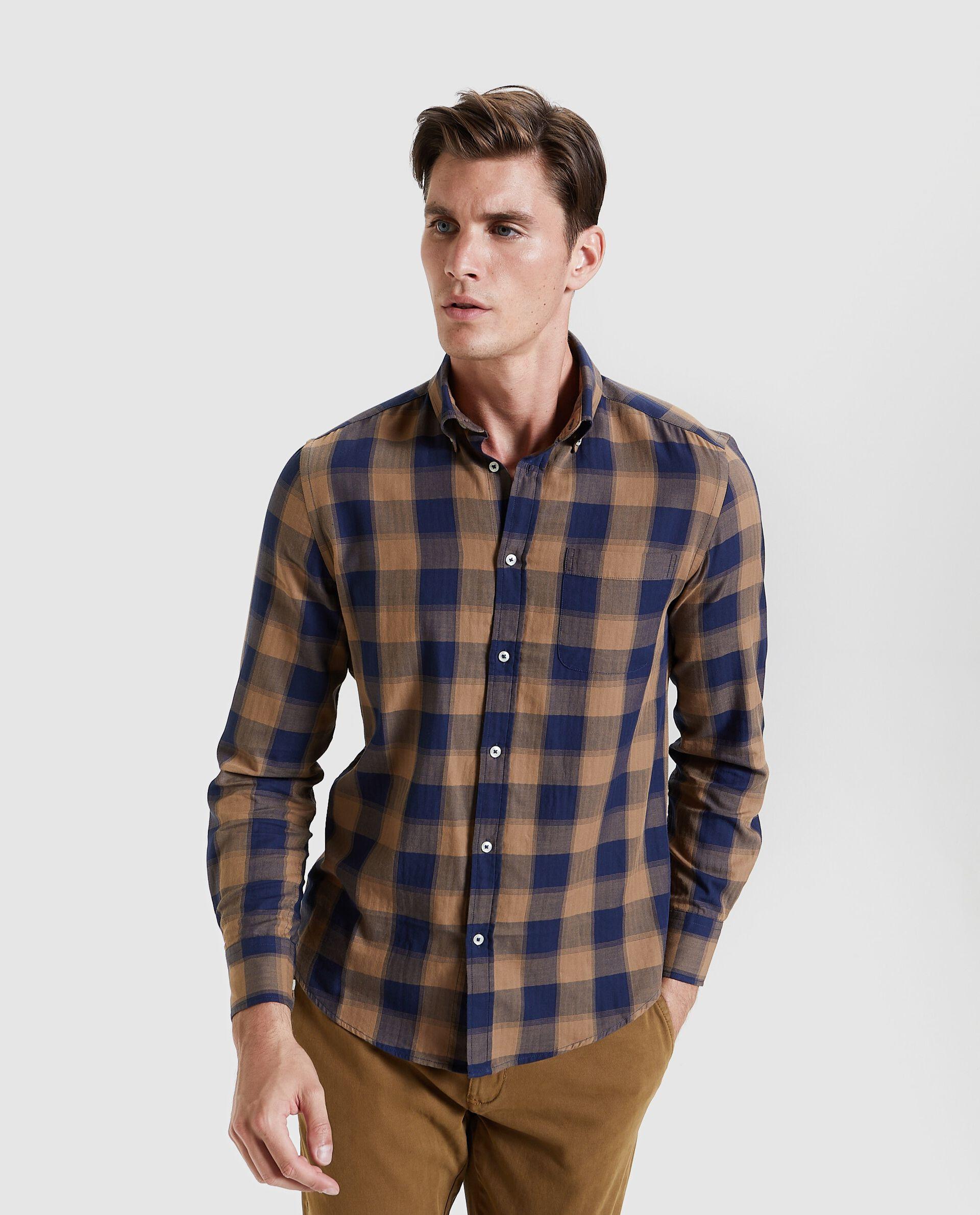Camicia in flanella a quadri puro cotone regular fit uomo
