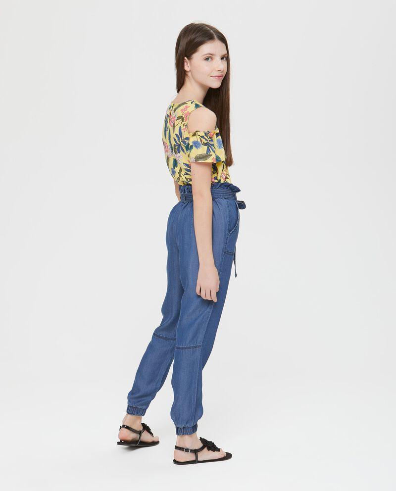 Pantalone blusante a vita alta effetto denim.
