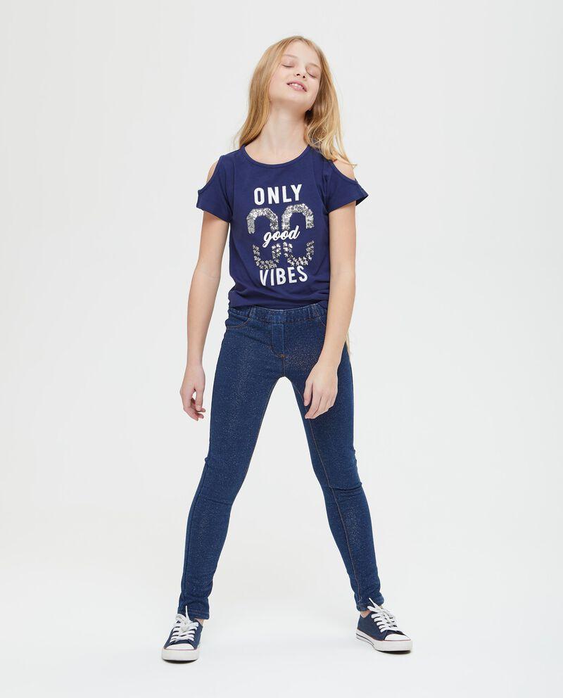 Jeans con lurex tinta unita