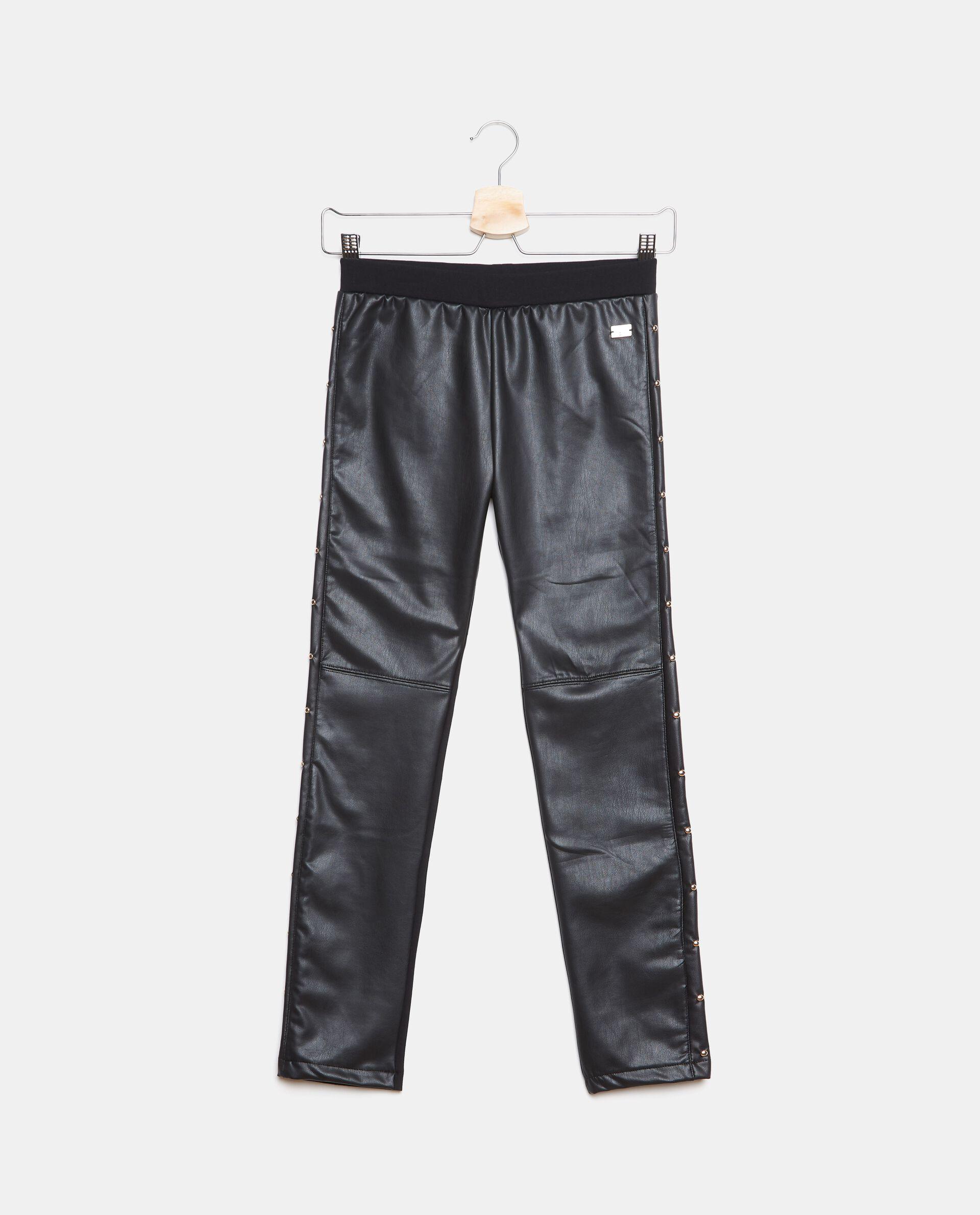 Pantaloni in ecopelle con bande laterali ragazza