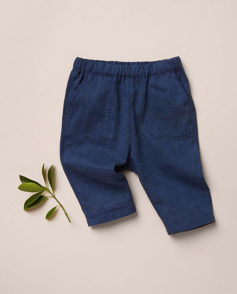 Pantaloni tinta unita in misto lino MADE IN ITALY cover