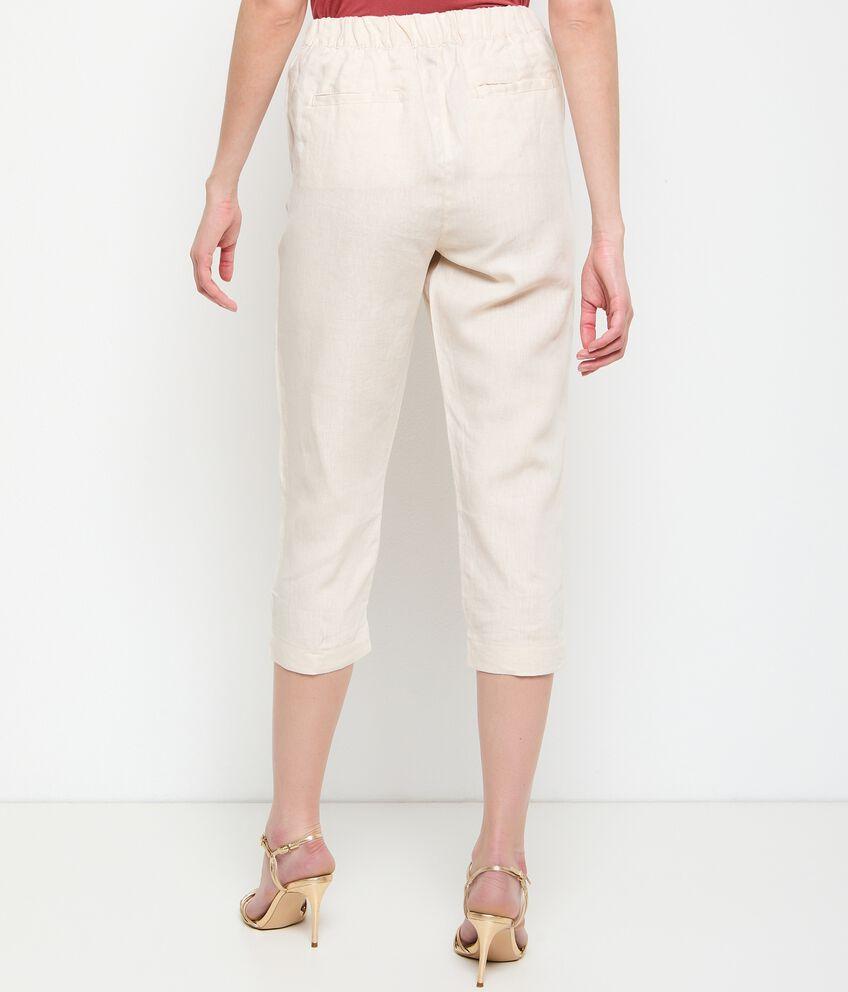 Pantaloni in puro lino capri donna double 2