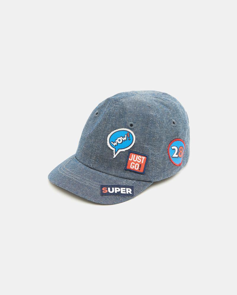 Cappellino denim in puro cotone neonato