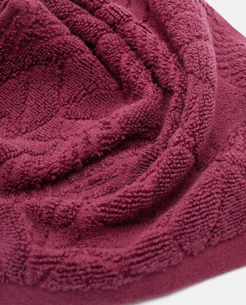 Telo in puro cotone con foglie in rilievo