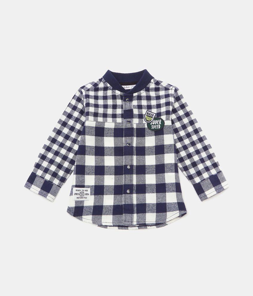 Camicia con motivo a quadri in cotone biologico neonato double 1