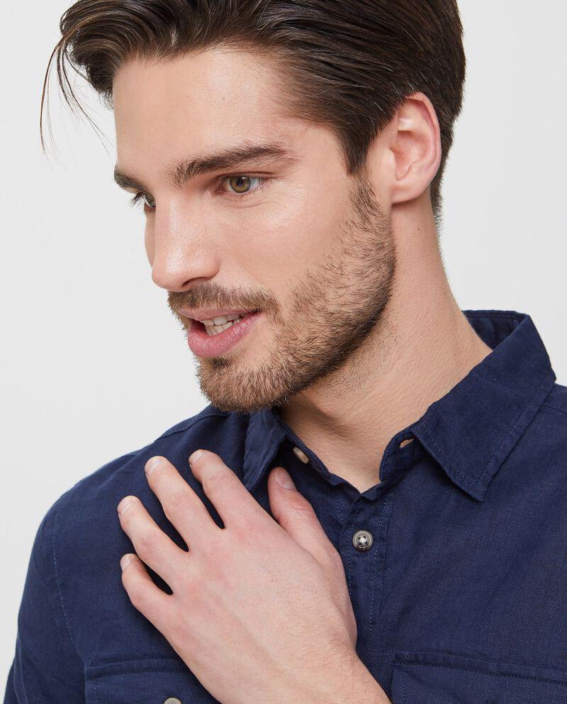 Camicia blu in puro lino a maniche lunghe uomo