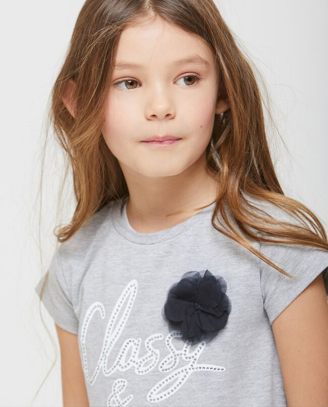 T-shirt mélange con finto doppio