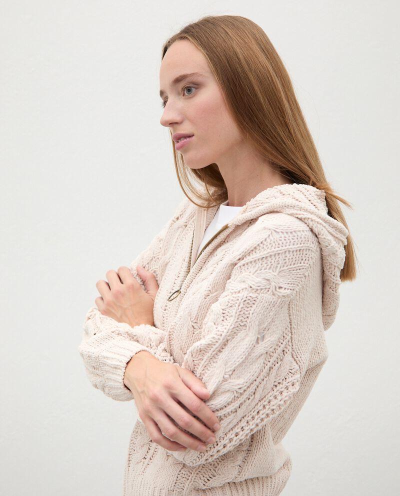 Cardigan tricot con cappuccio e zip donnadouble bordered 2