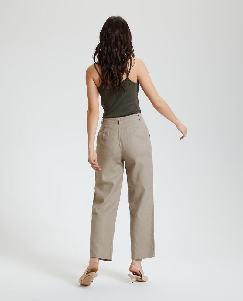 Pantaloni a palazzo in cotone misto lino donna