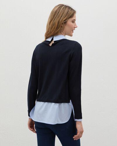 Maglia con inserto camicia in viscosa donna detail 1