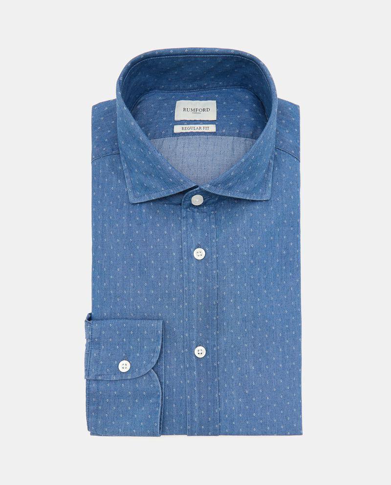 Camicia con micro fantasia in puro cotone uomo cover