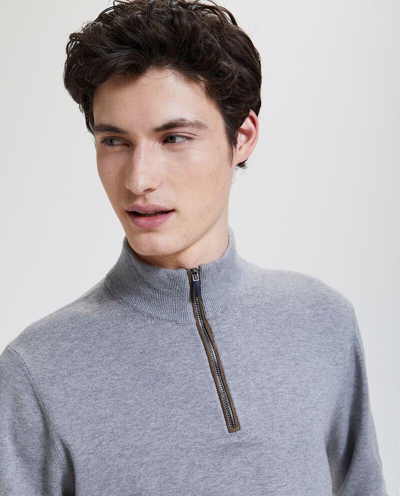 Maglione con zip in cotone misto seta uomo