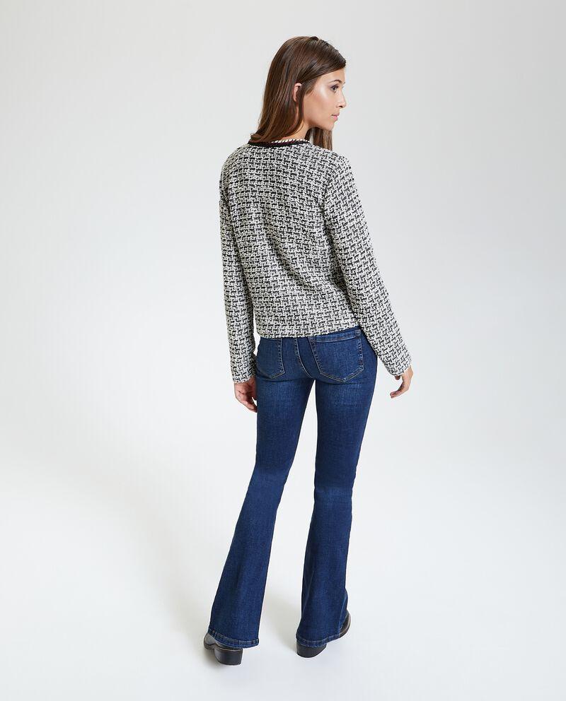 Blazer in tweed senza colletto donna