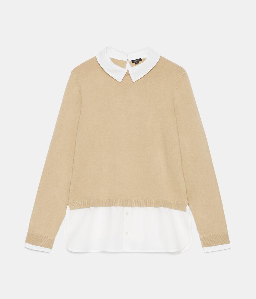 Maglia con inserto camicia donna double 1