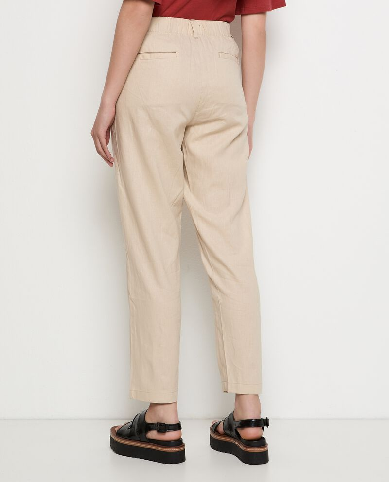 Pantaloni in lino misto viscosa donna