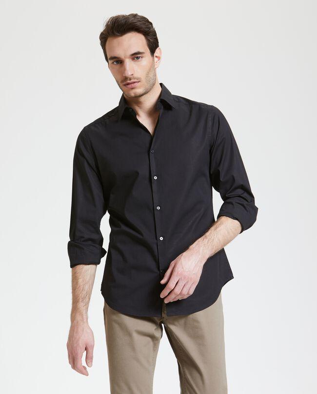 Camicia in tinta unita con maniche lunghe uomo