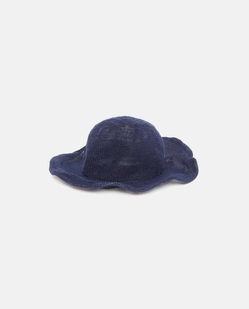 Cappello estivo blu con tesa larga morbida donna