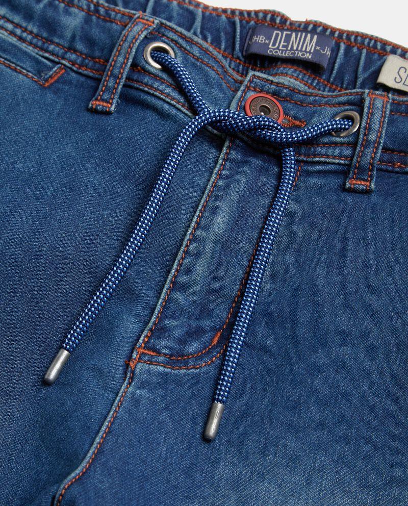Bermuda in jeans con cordoncino in vita uomo single tile 1