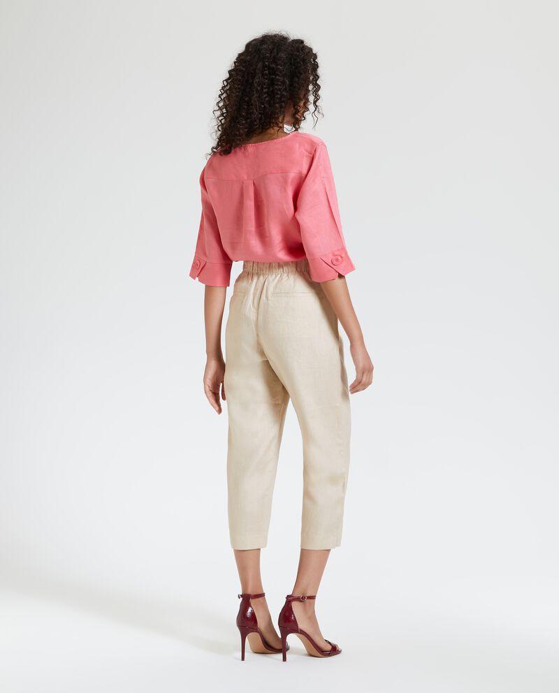 Pantaloni pinocchietto in puro lino donna